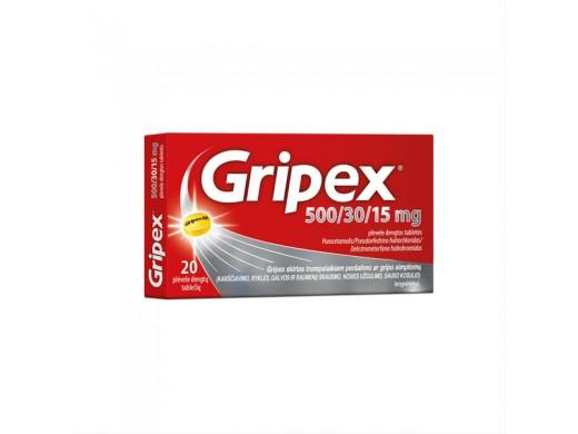 Gripex 500/30/15mg plėvele dengtos tabletės, N20