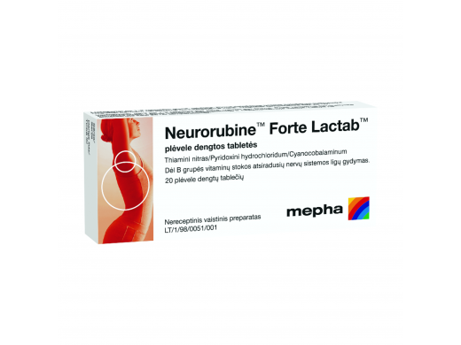 Neurorubine Forte Lactab plėvele dengtos tabletės, N20