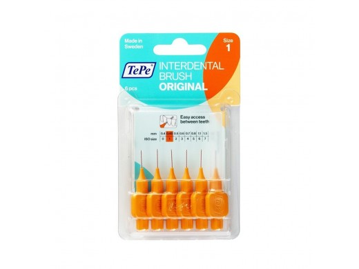 TePe oranžiniai tarpdančių šepetėliai G2, 0,45mm, N6
