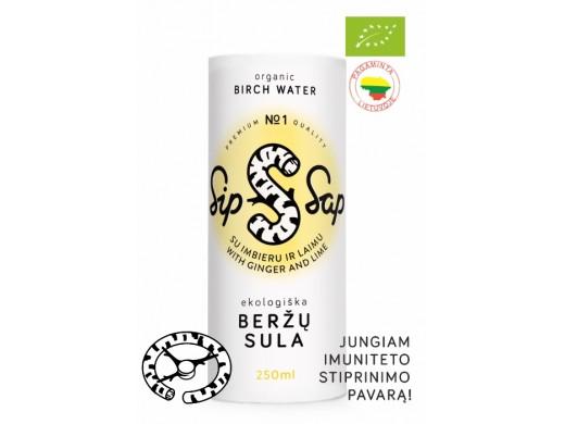 Ekologiška beržų sula su imbieru ir laimu SIP SAP, Lamican 250 ml.