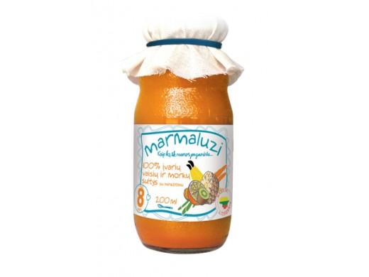 100% įvairių vaisių ir morkų sultys nuo 8 mėn., 200 ml.