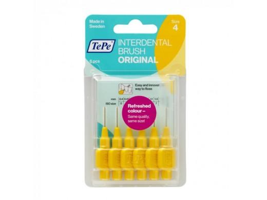 Tepe tarpdančių šepetėliai 0.7 mm, geltoni, N6