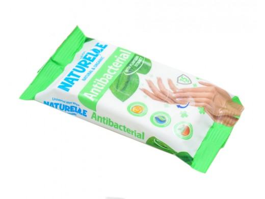 Drėgnos antibakterinės servetėlės NATURELLE su vitaminu E ir gysločiu, 15 vnt.
