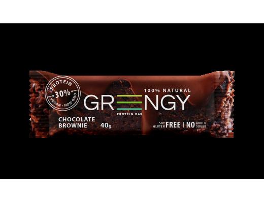 Baltyminis batonėlis Greengy su šokoladu, 72g.
