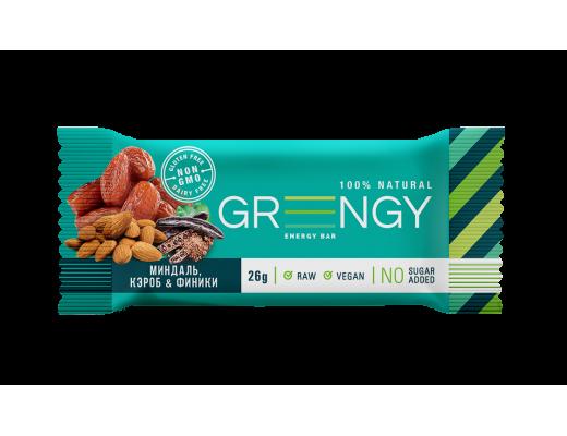 Energinis batonėlis Greengy su migdolo riešutais, saldžiavaisiu pupmedžiu ir datulėmis, 26g.