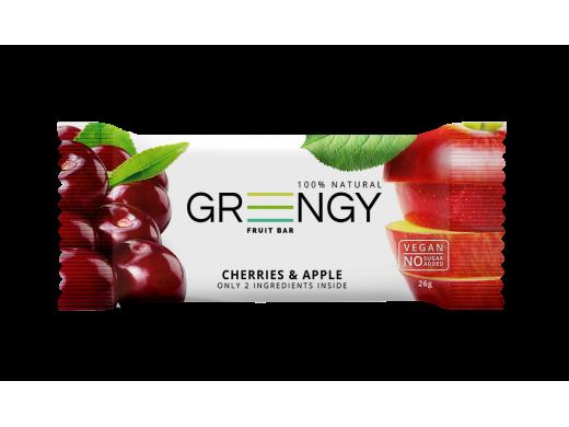 Vaisinis batonėlis Greengy su vyšniomis ir obuoliais, 26g.