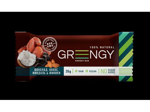 Energinis batonėlis Greengy su šokolado gabaliukais, kokosais, migdolais ir datulėmis, 26g.