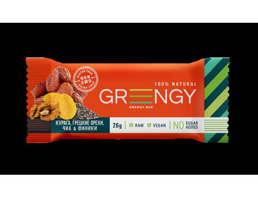 Energinis batonėlis Greengy su džiovintais vaisiais ir riešutais, 26g.