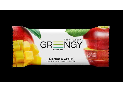 Vaisinis batonėlis Greengy su mangais ir obuoliais, 26g.