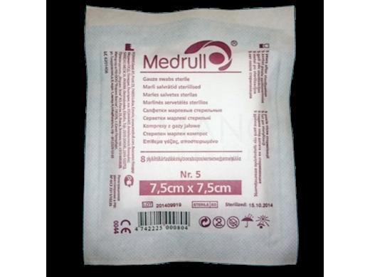 Medrull servetėlės sterilios Premium 7.5x7.5cm 8 sluoksnių, 5 vnt.