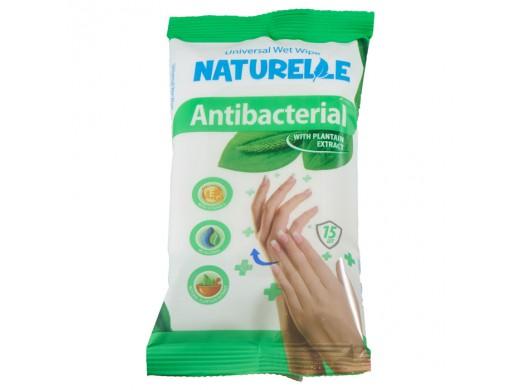 Drėgnos antibakterinės servetėlės NATURELLE su vitaminu E ir gysločiu, 48 vnt.