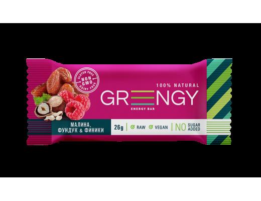 Energinis batonėlis Greengy su avietėmis, lazdyno riešutais ir datulėmis, 26g.