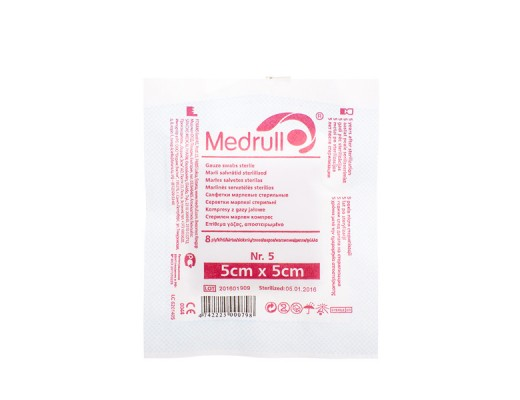 MEDRULL, marlinės sterilios servetėlės, 5 x 5 cm, 8 sluoksnių, 5 vnt.