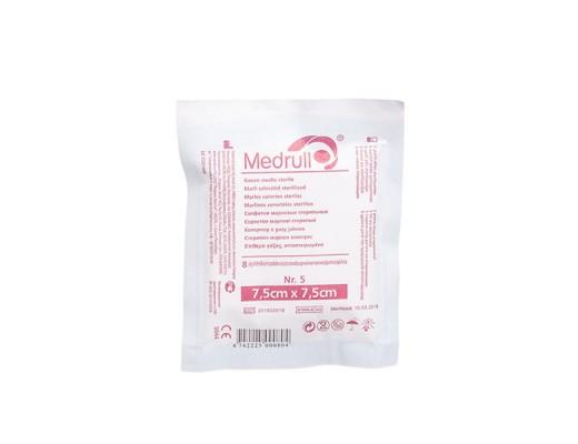 MEDRULL, marlinės sterilios servetėlės, 7,5 x 7,5 cm, 8 sluoksnių, 5 vnt.
