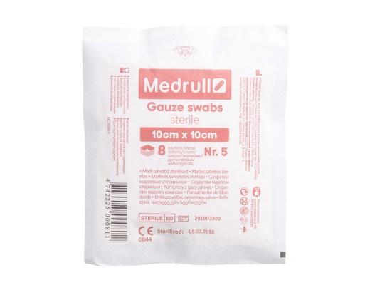 MEDRULL, marlinės sterilios servetėlės, 10 x 10 cm, 8 sluoknių, 5 vnt.