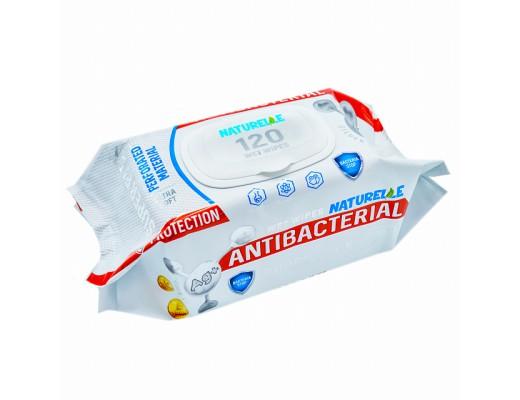 Drėgnos antibakterinės servetėlės NATURELLE ANTIBACTERIAL, 120vnt.