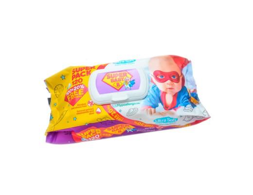 Drėgnos servetėlės vaikams su ramunėlėmis ir alijošiumi SUPER BABY, 120 vnt.