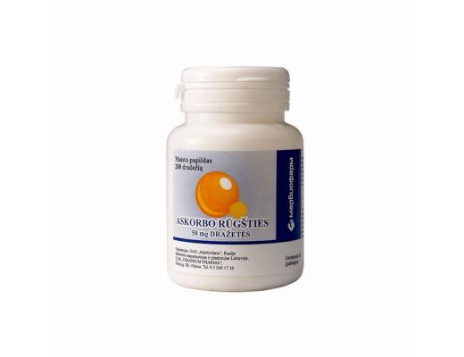 Askorbo rūgšties 50 mg. dražetės N200