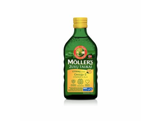 Möller's skysti žuvų taukai citrinų skonio 250 ml.