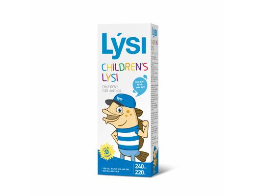 LYSI OMEGA-3 natūralaus skonio žuvų taukai vaikams 240 ml.