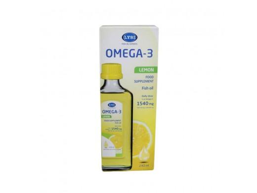 LYSI OMEGA-3 žuvų taukai citrinų skonio 240 ml.