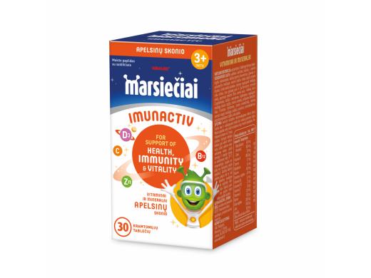 Marsiečiai Imunactiv apelsinų skonio kramtomosios tabletės N30