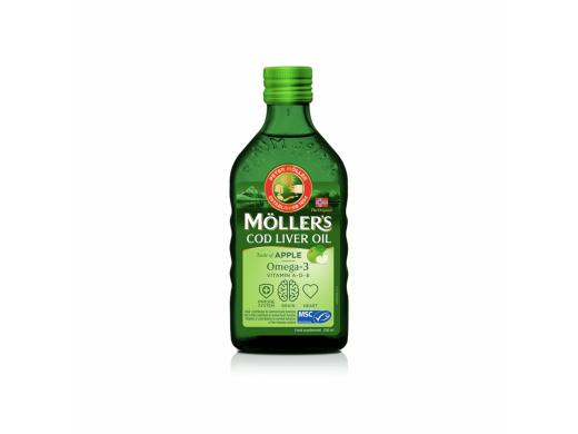 MÖLLER'S obuolių skonio skysti žuvų taukai 250 ml.