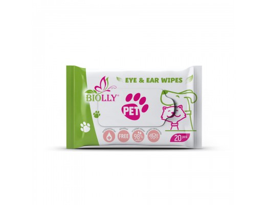 """Drėgnos servetėlės """"BIOLLY"""" ausyčių ir akyčių priežiūrai, 20 vnt."""