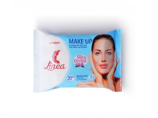 Drėgnos servetėlės makiažui valyti LINEA Make Up, 20 vnt.