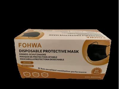 3 sluoksnių apsauginės veido kaukės, juodos spalvos, 50vnt. dėžutė